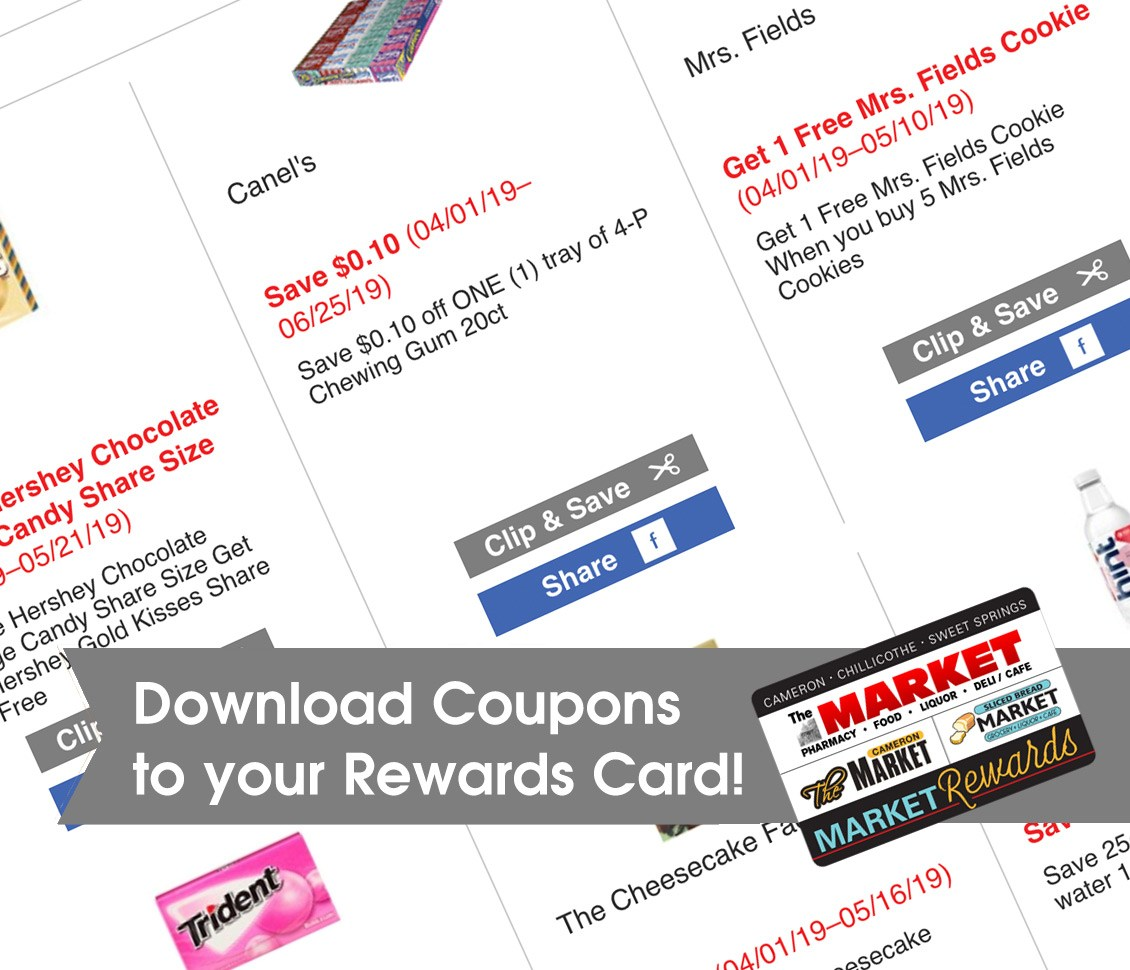 Download Coupons to your Rewards Card!